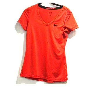Nike Pro orange dri-fit short sleeve top Sz M